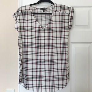 Express Tartan Pattern Short Sleeve Blouse